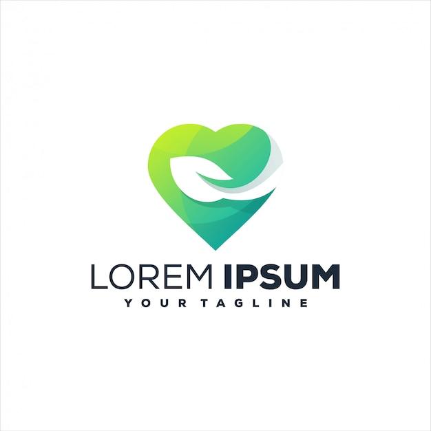 Awesome heart leaf logo design