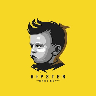 Awesome hipster baby boy logo  for template