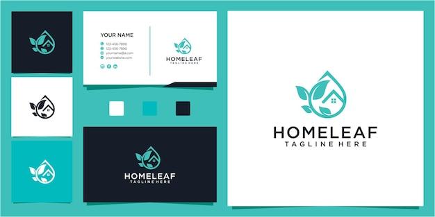 素晴らしい家と葉のドロップオイルのロゴのデザインテンプレート