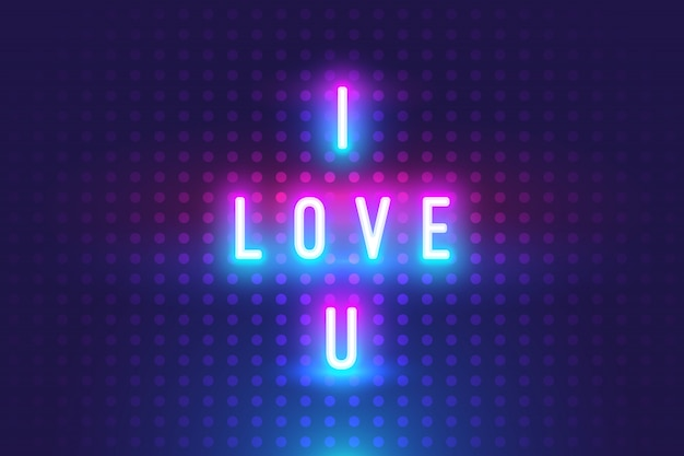 Awesome i love you text with neon glow background