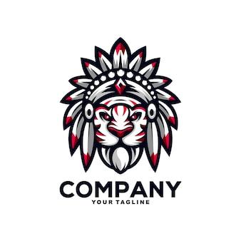 素晴らしいインドの虎のマスコットのロゴデザインイラスト