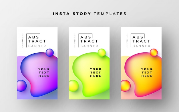 Awesome instagram story templates with abstract liquid shapes