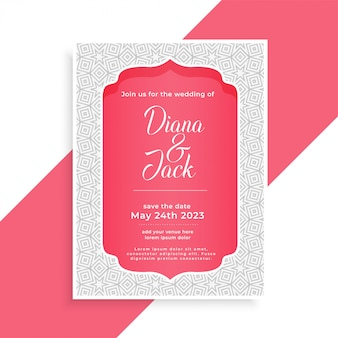 Awesome islamic muslim wedding style card design