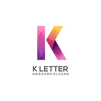 Awesome k letter logo colorful gradient