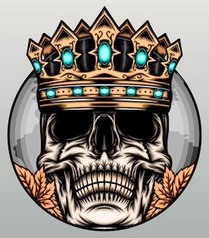 Awesome king skull illustration.