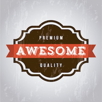 Awesome label over gray background vector illustration