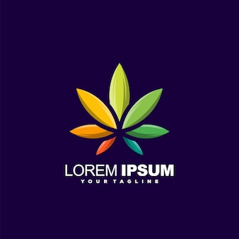 Awesome leaf gradient logo design