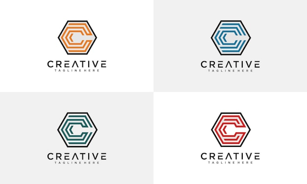 Awesome letter c hexagon logo  template