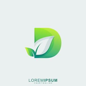 Awesome letter d leaf logo