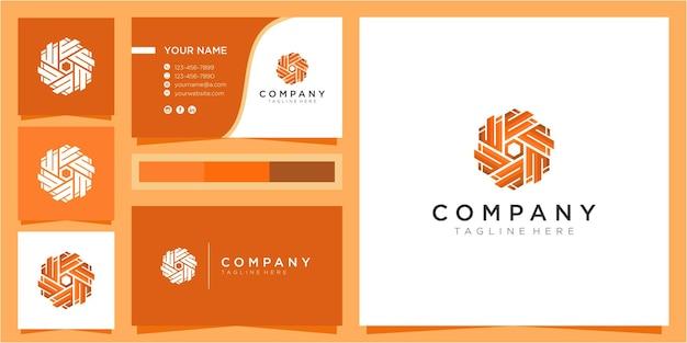 Удивительный шаблон дизайна логотипа буква m с визитной карточкой