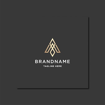 Awesome letter a monogram gold logo