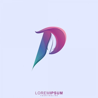 Awesome letter p feather logo