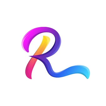 Awesome letter r logo gradient