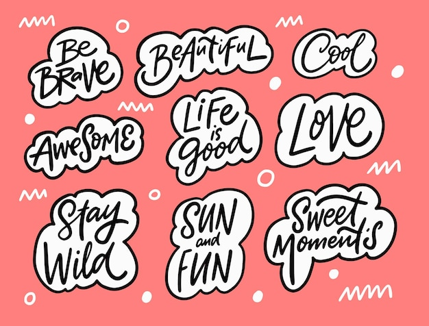Awesome lettering phrases set hand drawn black color text in bubbles doodle style