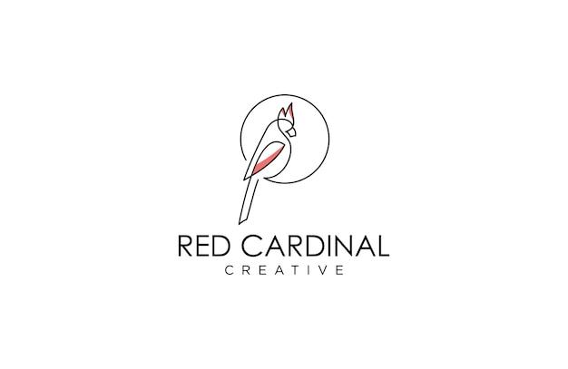 Awesome line art cardinal logo