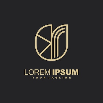 Awesome line art gold color logo design