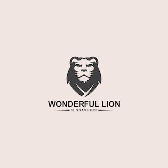 素晴らしいライオンヘッドのロゴデザイン