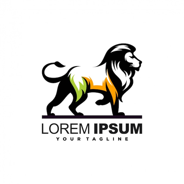 Awesome lion illustration logo design