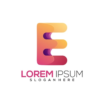Удивительный логотип буква e красочный градиент