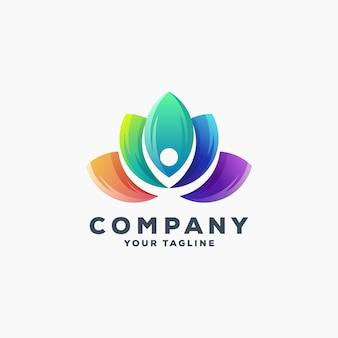 Удивительный лотос дизайн логотипа вектор
