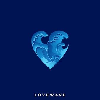 Удивительный логотип love wave premium
