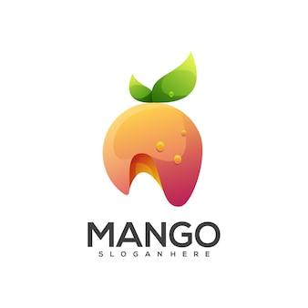 Удивительный фруктовый логотип манго красочный градиент