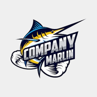 Awesome marlin logo design vector