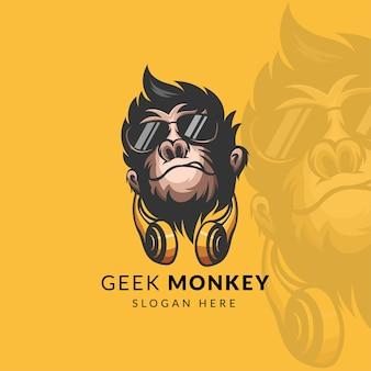 ヘッドフォンのロゴデザインの素晴らしい猿のオタク