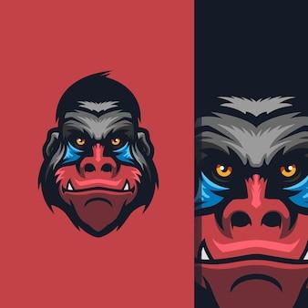 편집을 위한 무료 벡터가 있는 멋진 원숭이 로고