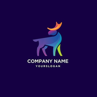 Awesome moose logo with rainbow color