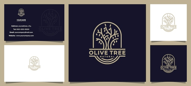 Awesome olive tree, olive oil logo design, with business card