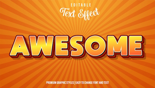 Редактируемый текстовый эффект, awesome orange cartoon font style
