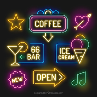Awesome pack of bright neon lights signages