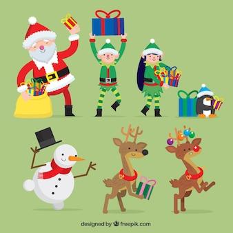 Удивительный пакет улыбается рождественских символов