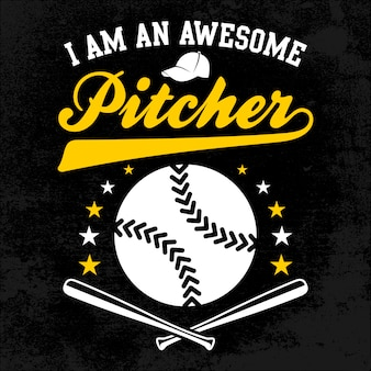 Awesome pitcher with stick and ball distress background