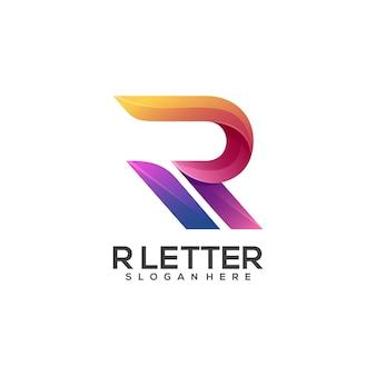 素晴らしいr文字のロゴのカラフルなグラデーション