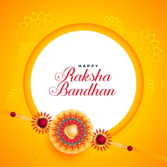 Awesome raksha bandhan festival card with rakhi