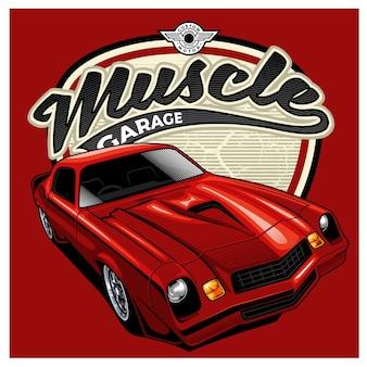 빨간색 배경에 멋진 빨간색 근육 자동차