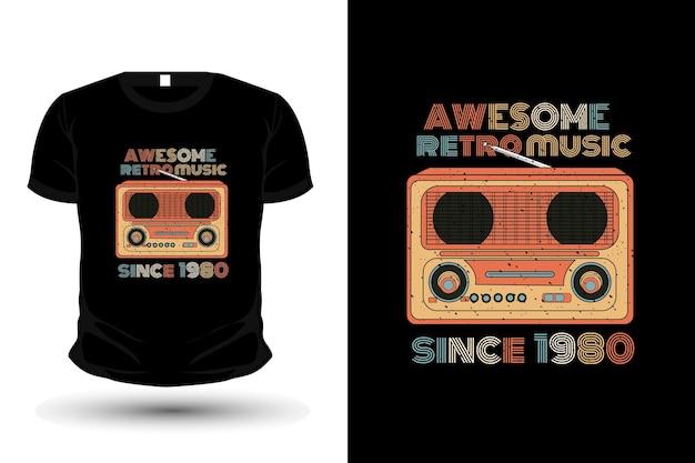 Awesome retro music merchandise silhouette t-shirt design retro style