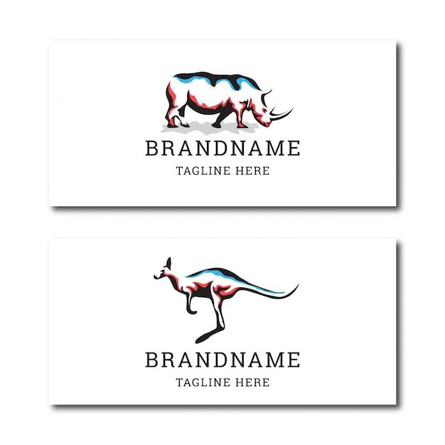 멋진 코뿔소와 캥거루 동물 로고 아이콘 디자인 템플릿