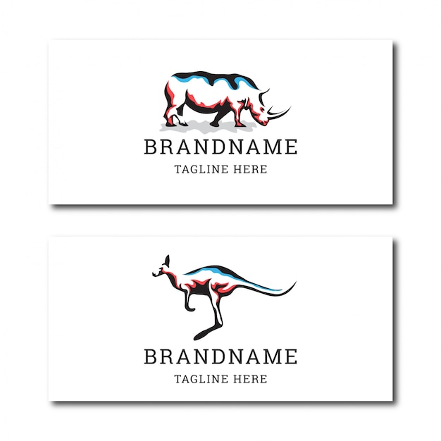 Awesome rhino and kangaroo animal logo icon design template