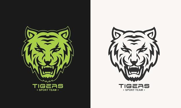 恐ろしいとどろく虎のロゴのモノクロ
