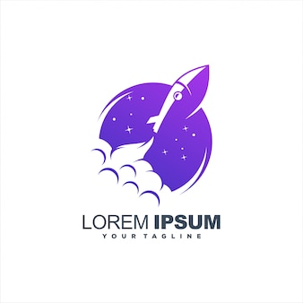 Awesome rocket launch logo