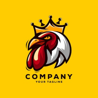 Awesome rooster king logo vector
