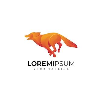 Потрясающий бегущий волк логотип