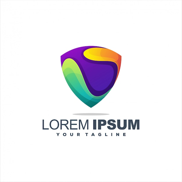 Awesome shield gradient logo template