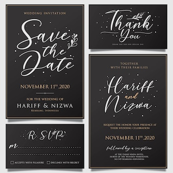 Awesome simple wedding invitation card template with flower decorations