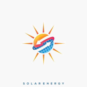 Awesome solar panel premium logo vector