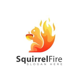 Высокий шаблон дизайна логотипа огонь белка