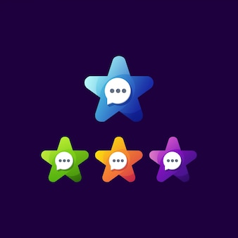 Awesome star chat logo template